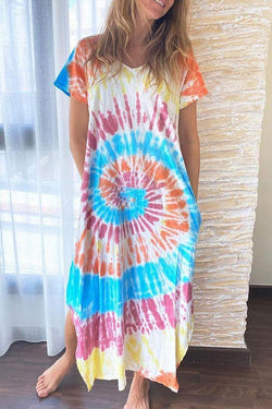 Tie Dye Relaxed Split Maxi Dress
