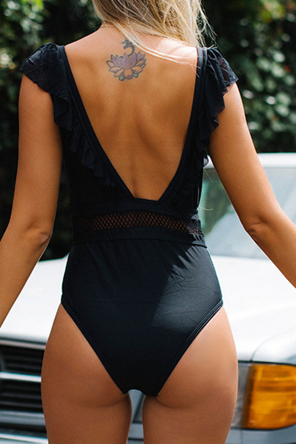 Solid Color Modern See-Through One Piece Swimwear