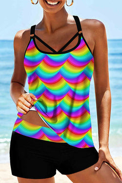 Abstract Print Colorful Tankini