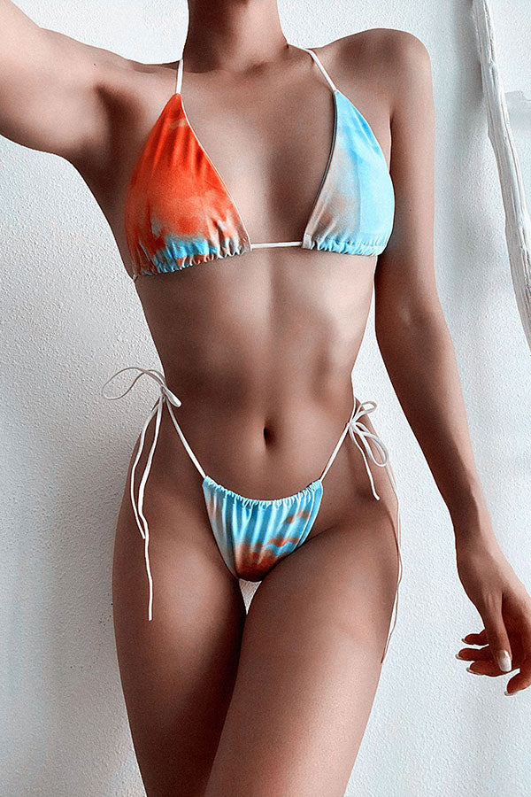 Tie Dye Stylish Strappy Three Pieces Swimwear