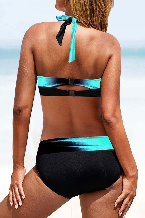 Color Block Halter Collar Smart Beach Bikini