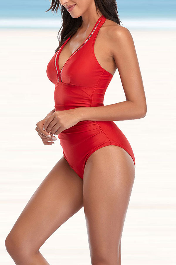 Solid Color Classic One Piece Swimwear