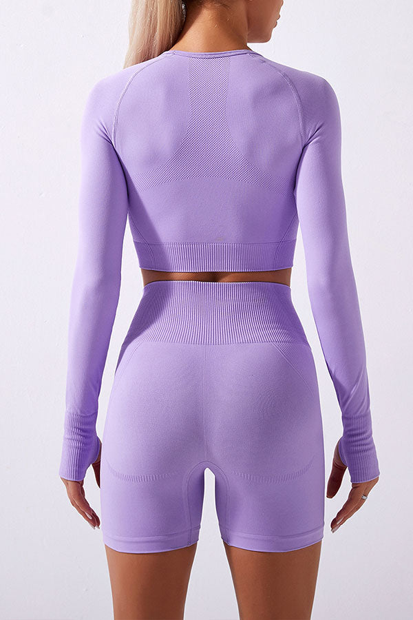 Solid Color Sporty Midriff-Baring Short Pants Suit