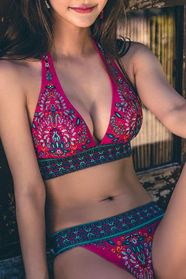 Fashion Natural Print Bikini Swimwear