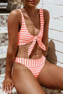 Girly Lace-Up Striped Bikini