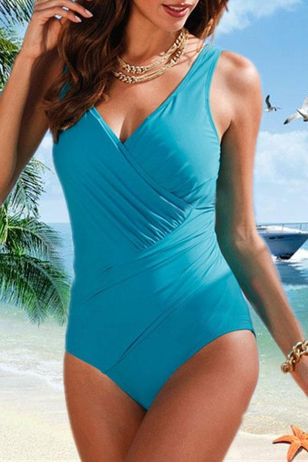 Classic V Neck One Piece Swimwear