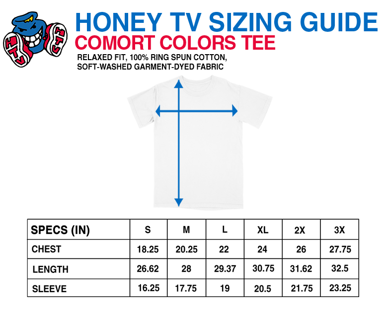 honey tv tee size guide