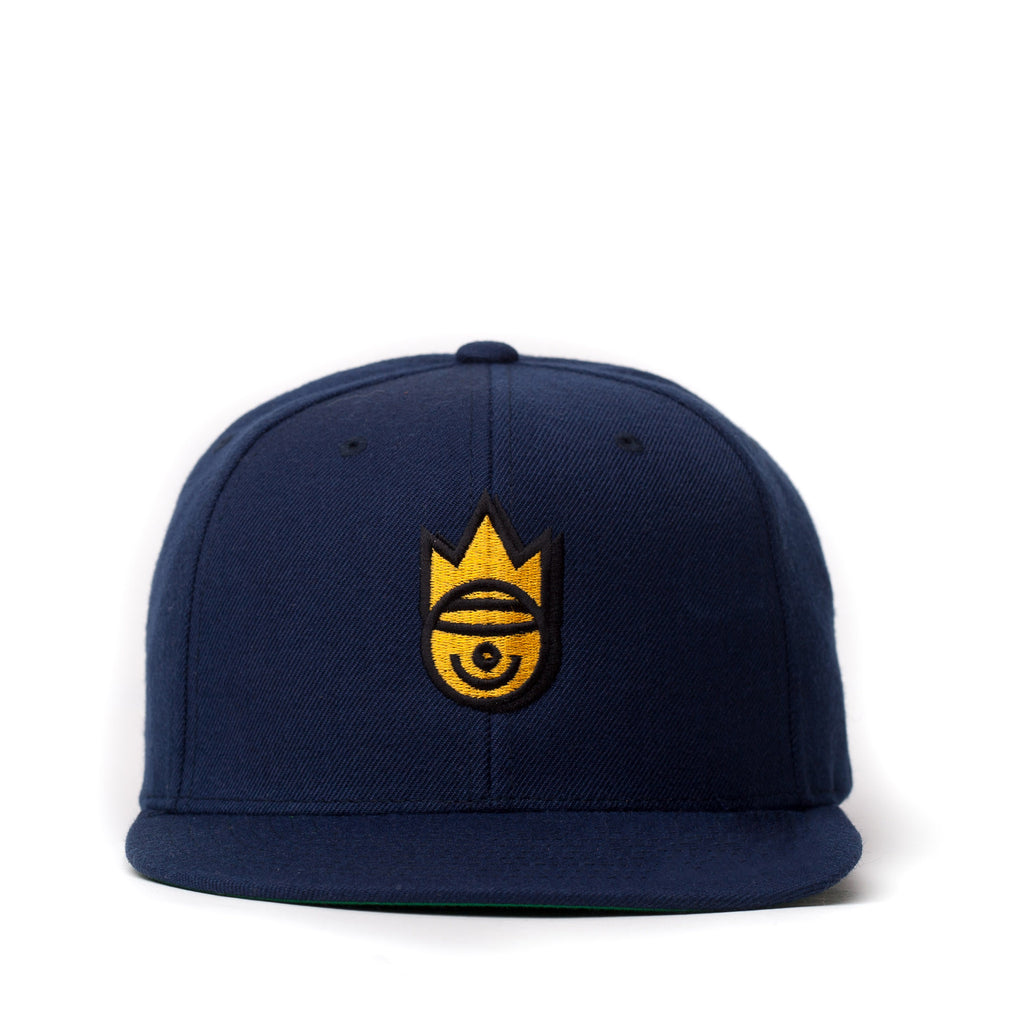 THE NAVY AND GOLD SMILEY SNAPBACK