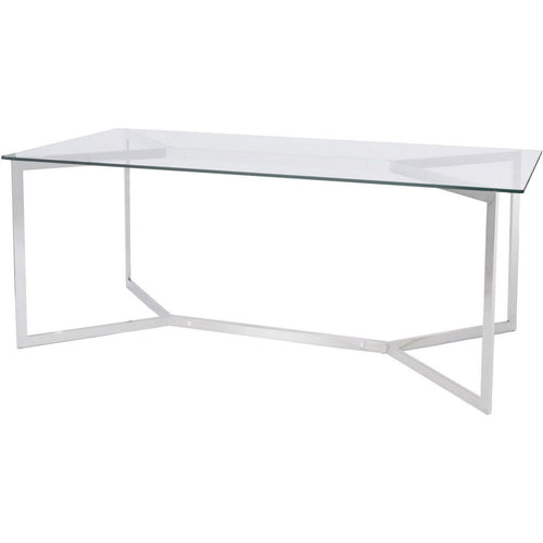 Linton Stainless Steel And Glass Dining Table