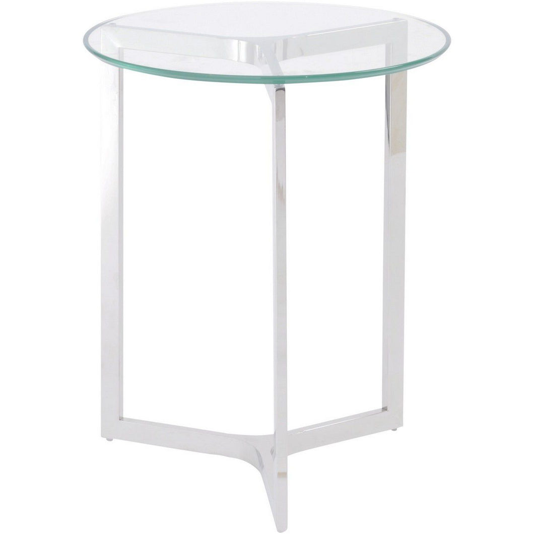Linton Stainless Steel And Glass End Table