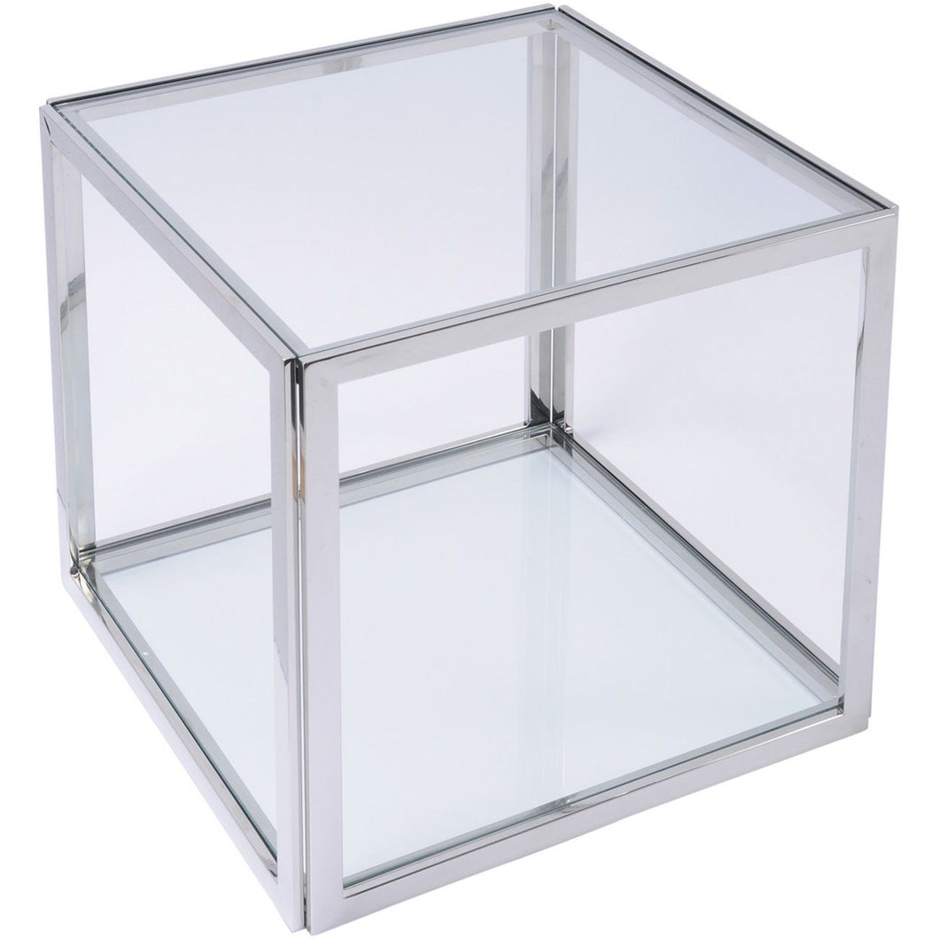 Linton Stainless Steel And Glass Square Side Table
