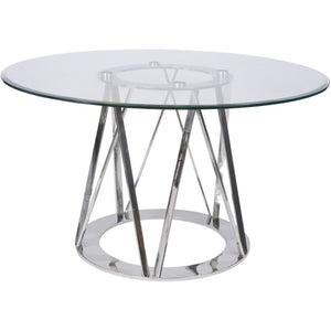 Linton Stainless Steel & Glass 4 Seater Round Dining Table