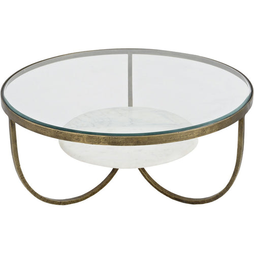 Matilda White Marble and Antique Gold Iron Coffee Table