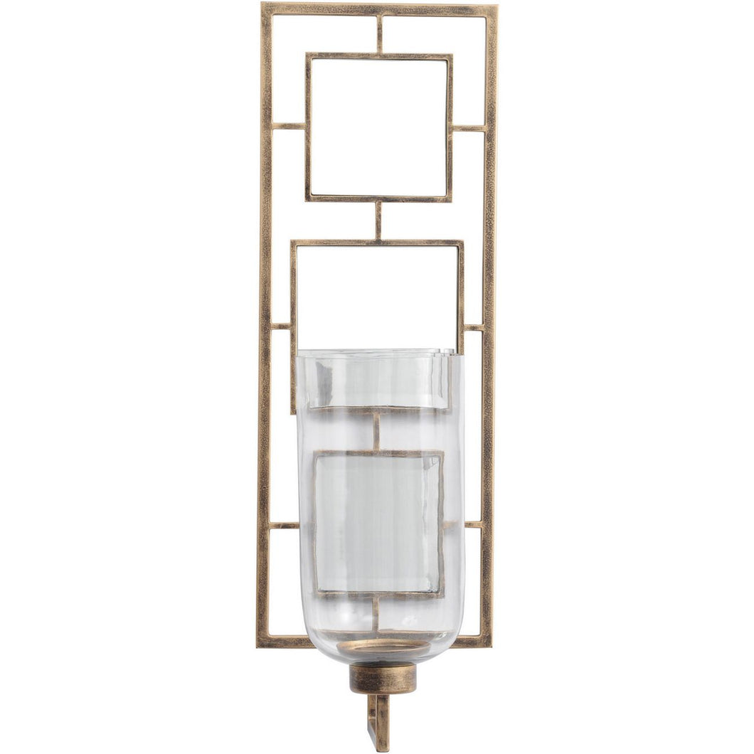 Occtaine Antique Gold Wall Sconce with Mirrored Back