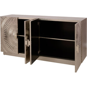 Coco Silver Embossed Metal 4 Door Buffet
