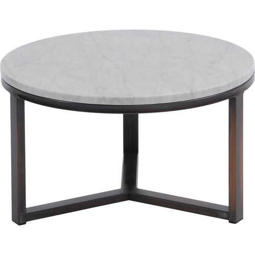 Fitzroy Pale Grey Marble and Bronze Coffee Table Small