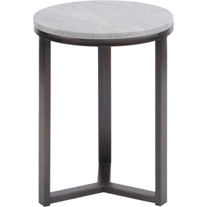Fitzroy Pale Grey Carrara Marble and Bronze Side Table