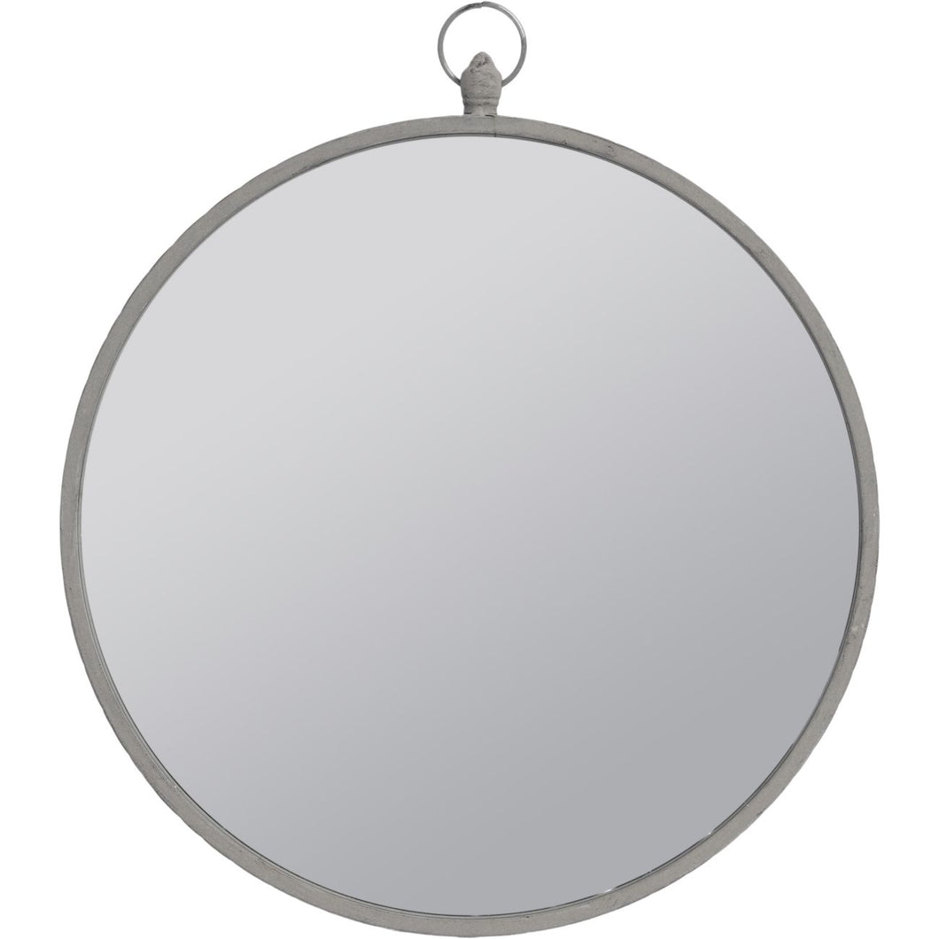 Round Mirror with Grey Metal Frame and Top Handle