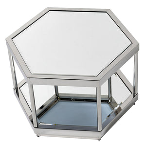 Mirrored Octagonal Stainless Steel Coffee Table
