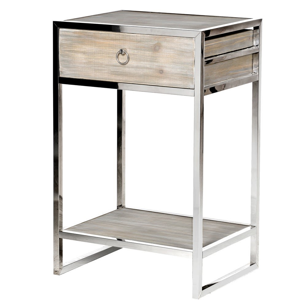 Woodley Stainless Steel Bedside Tables