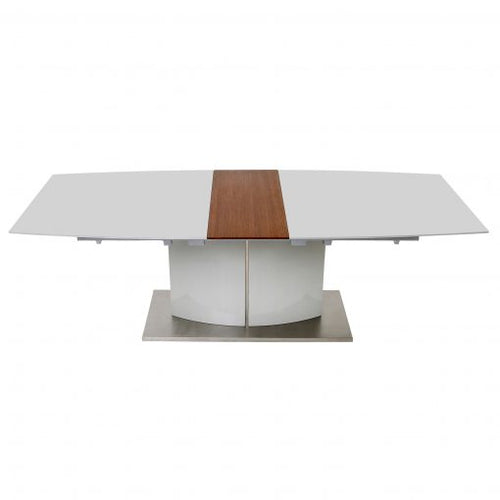 Dolcedo Extendable High Gloss Table with Walnut Veneer ( Available in Grey Or White)