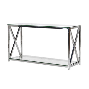 Terrance Glass and Steel Console