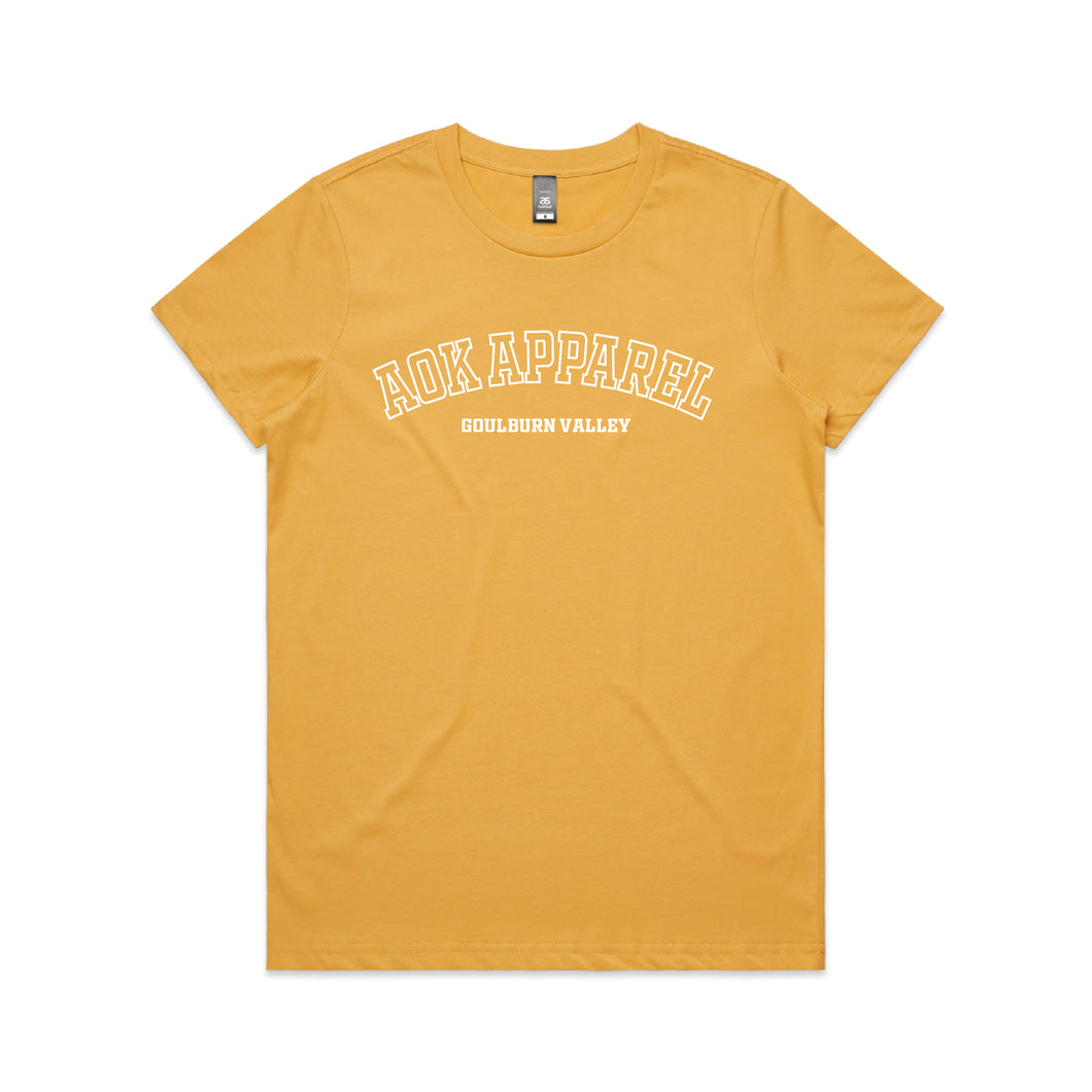 AOK Women's College Tee - Mustard/White