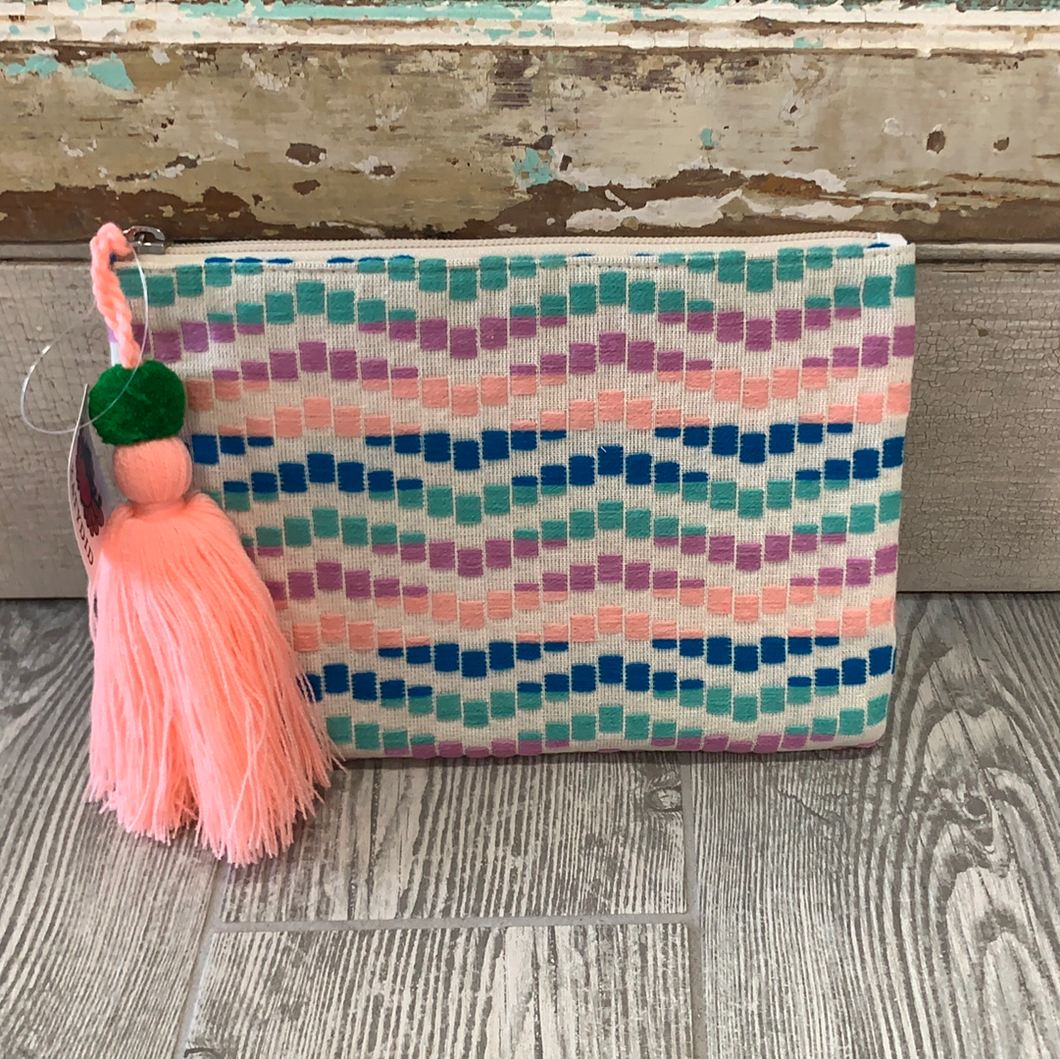 Mint Wave Tasseled Clutch/Make up Bag
