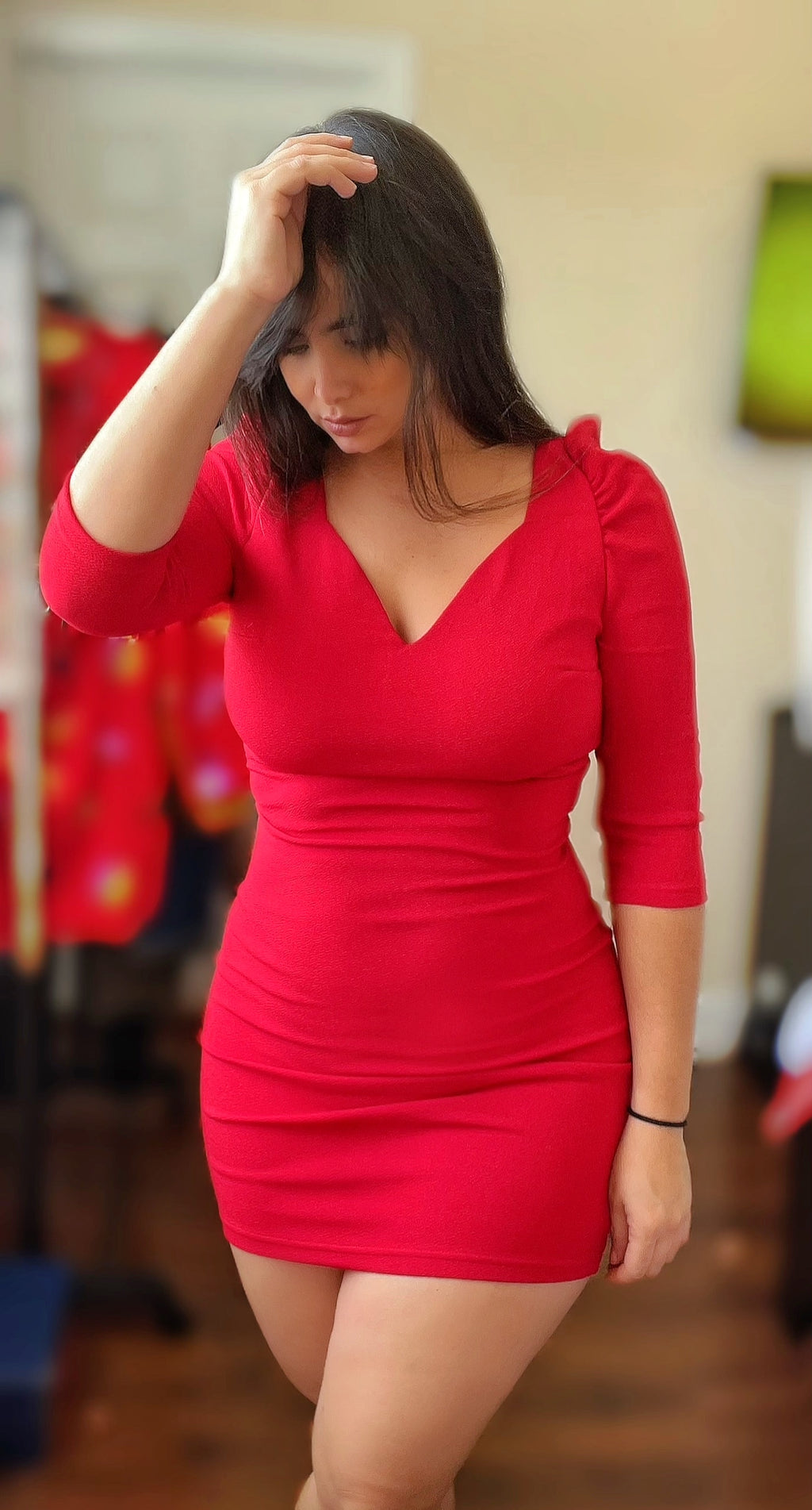 Grow Big Puff Sleeve Red Dress