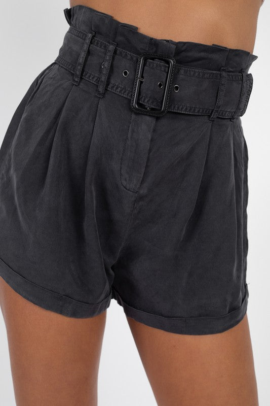 Don't Waist Your Time Paperbag Shorts (BLACK)