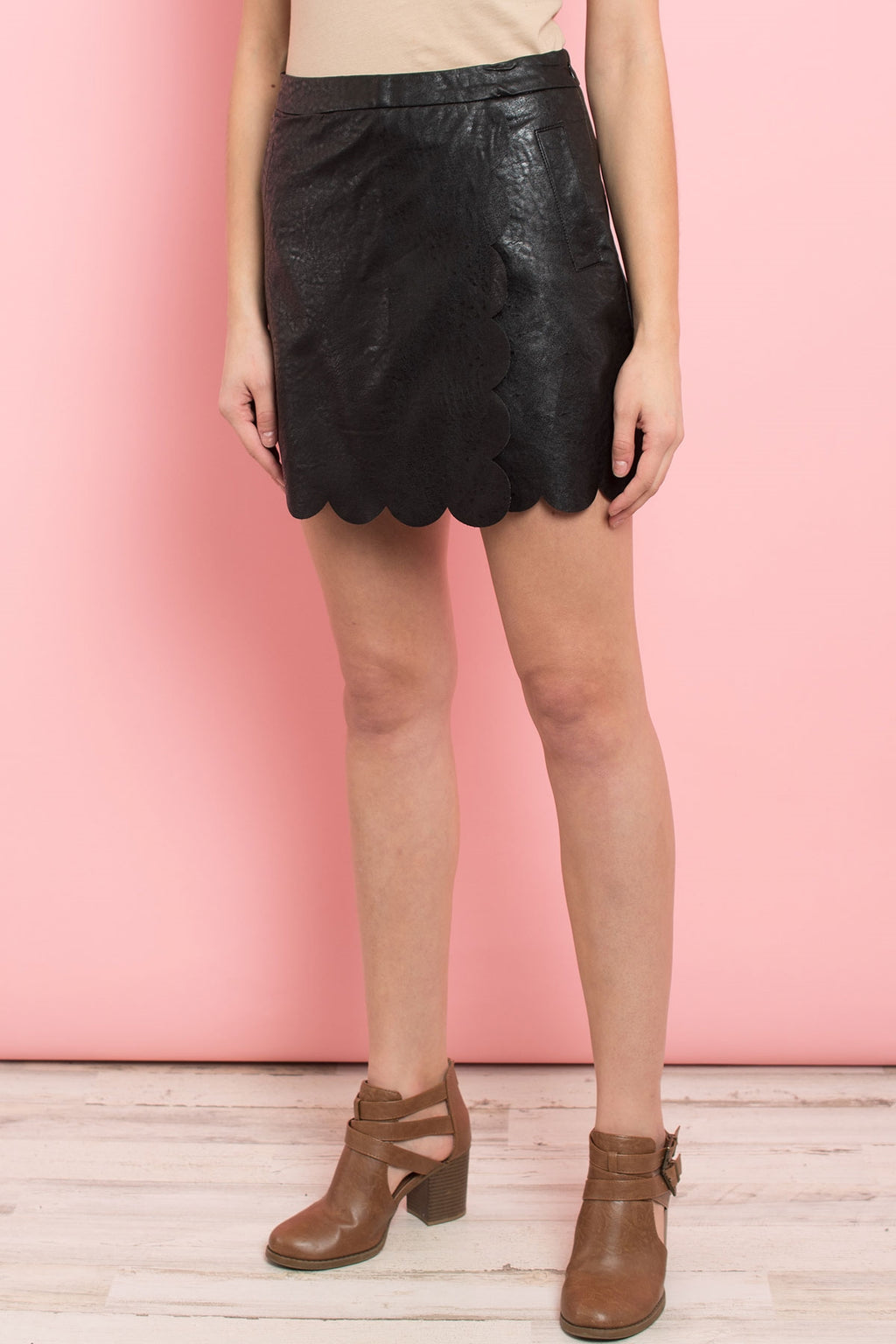 Black Heart Faux Leather Skirt