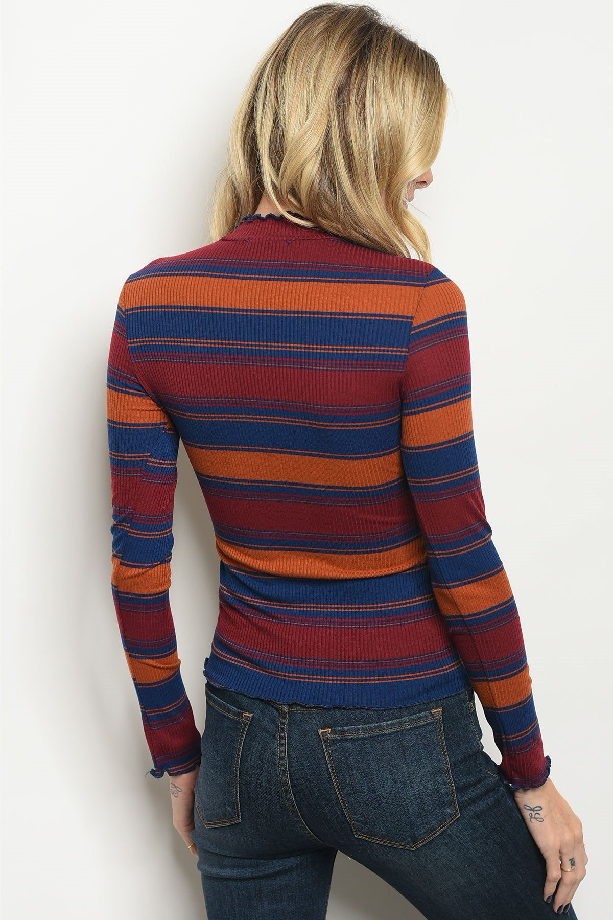 Stripe Babe Turtleneck Top