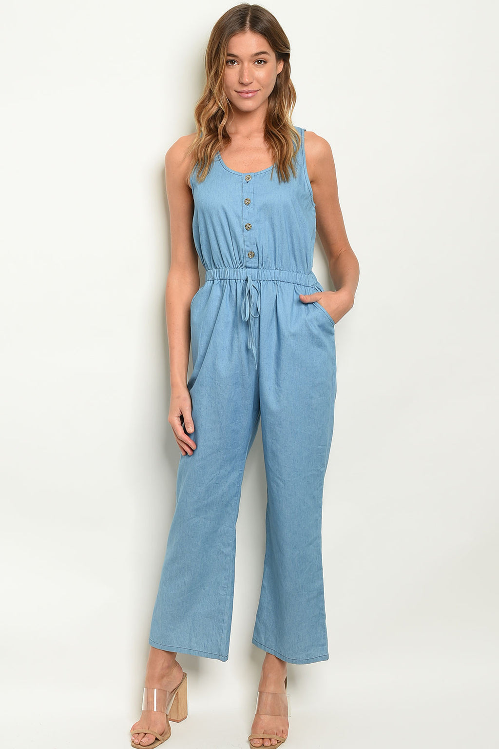Let's Keep This Casual Denim Jumpsuit