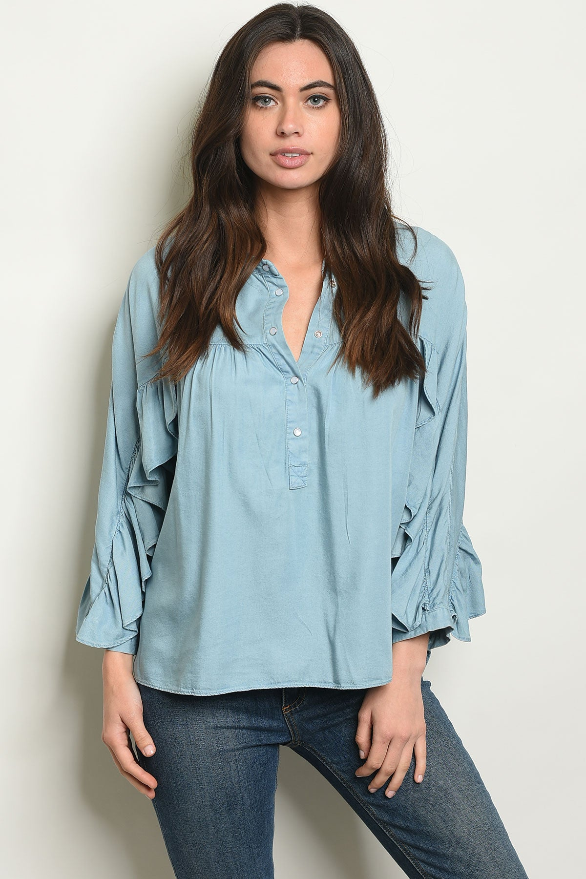 Selena Denim Ruffled Top