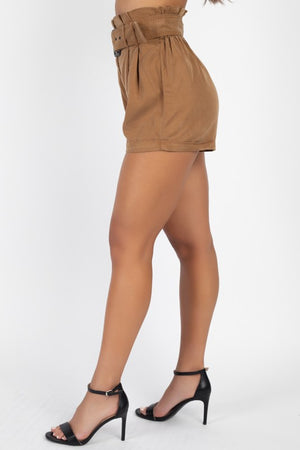 DON'T WAIST YOUR TIME PAPERBAG SHORTS (KHAKI)