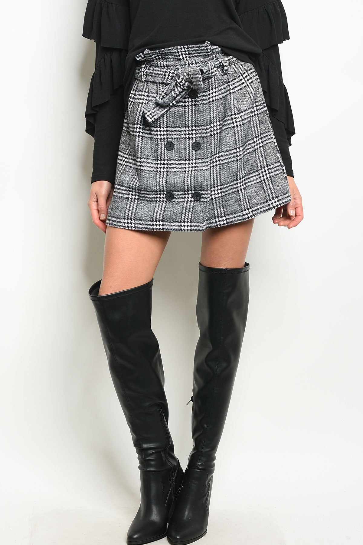Serves 'Em Plaid Paperbag Skirt