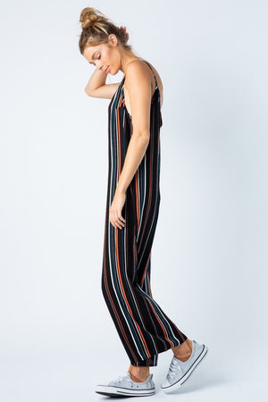 Stripes Going On Strappy Jumpsuit
