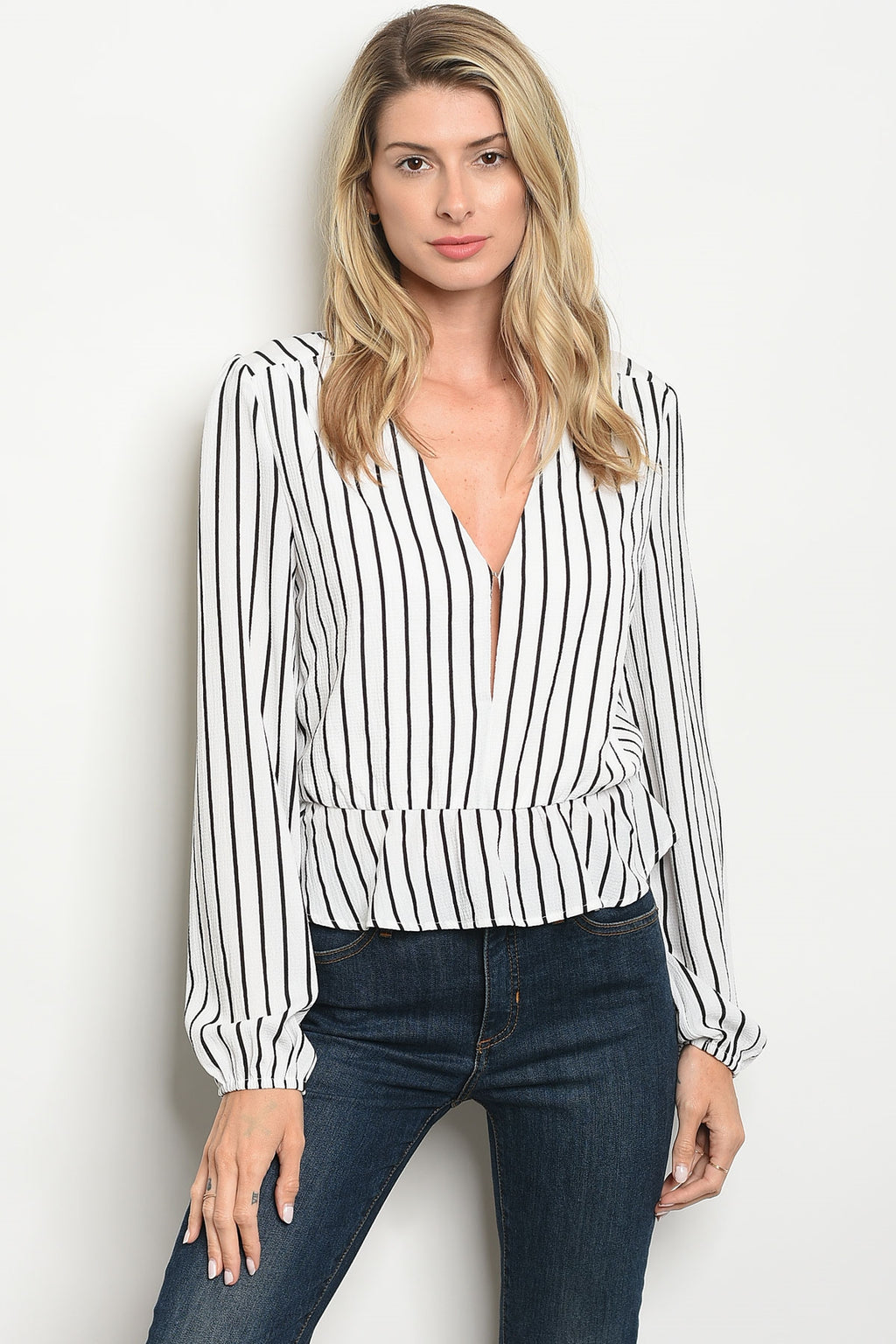 Baby Be Line Striped Top (White)