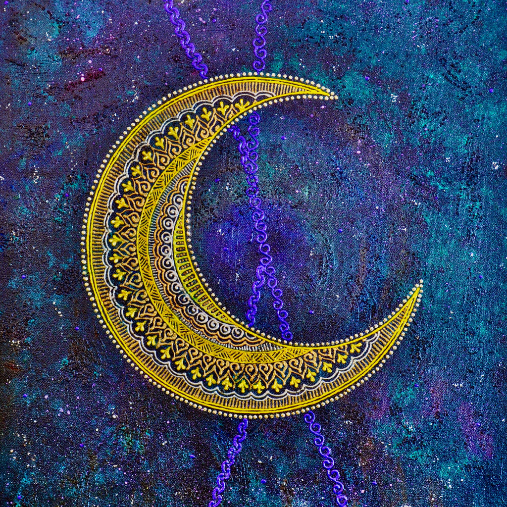 Henna Acrylic Moon Painting | Art by Bala