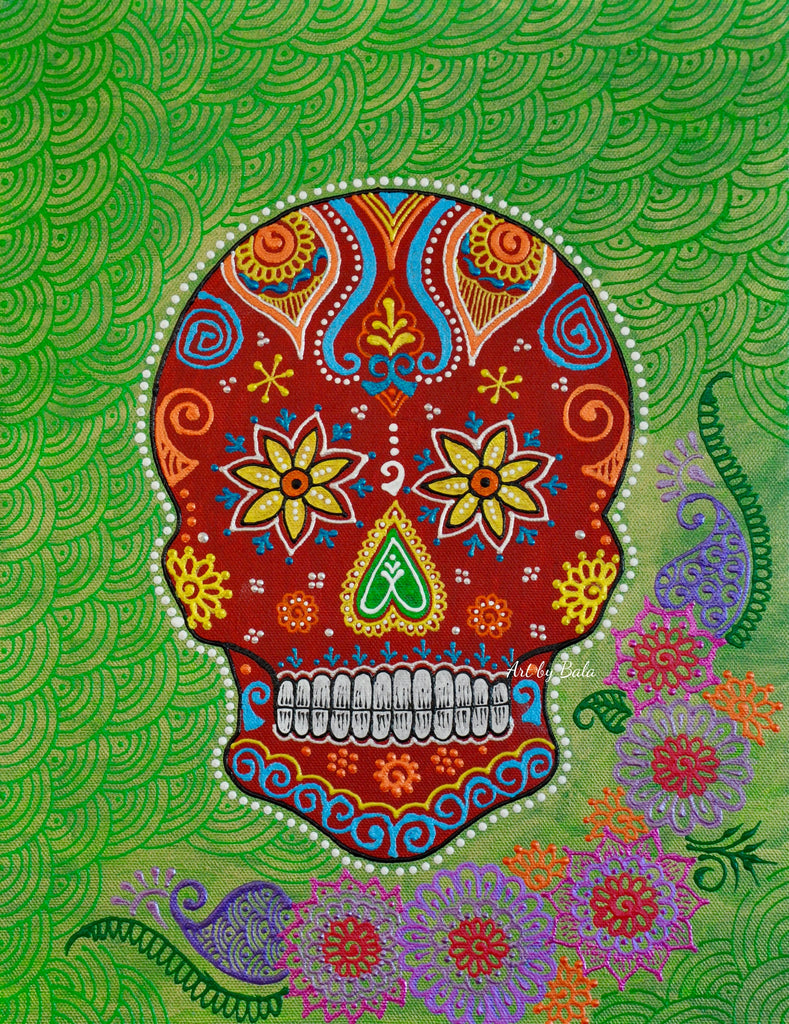 Sugarskull - Green - Art by Bala