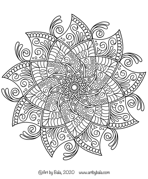 Mandala Coloring Page - 4 - Art by Bala