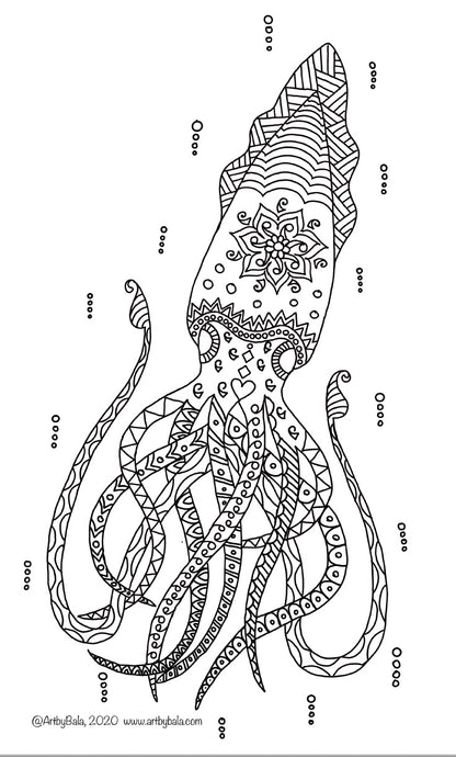 Squid Coloring Page - Art by Bala