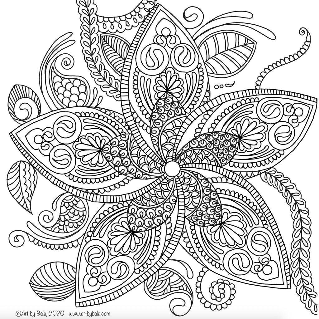 Plumeria Coloring Page - Art by Bala