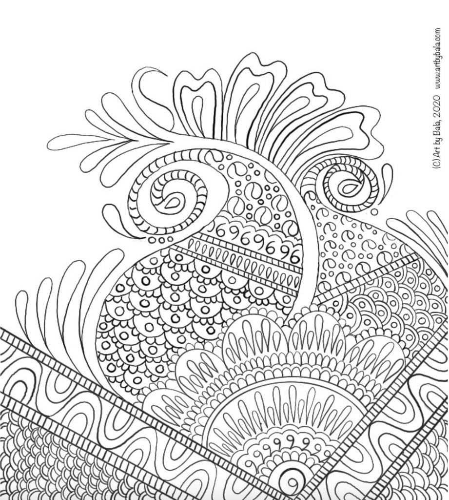 Henna Abstract Coloring Page - Art by Bala