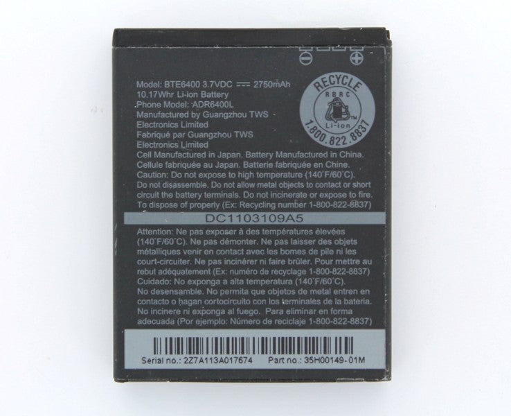 OEM HTC BTE6400 2750 mAh Replacement Battery for THUNDERBOLT 4G