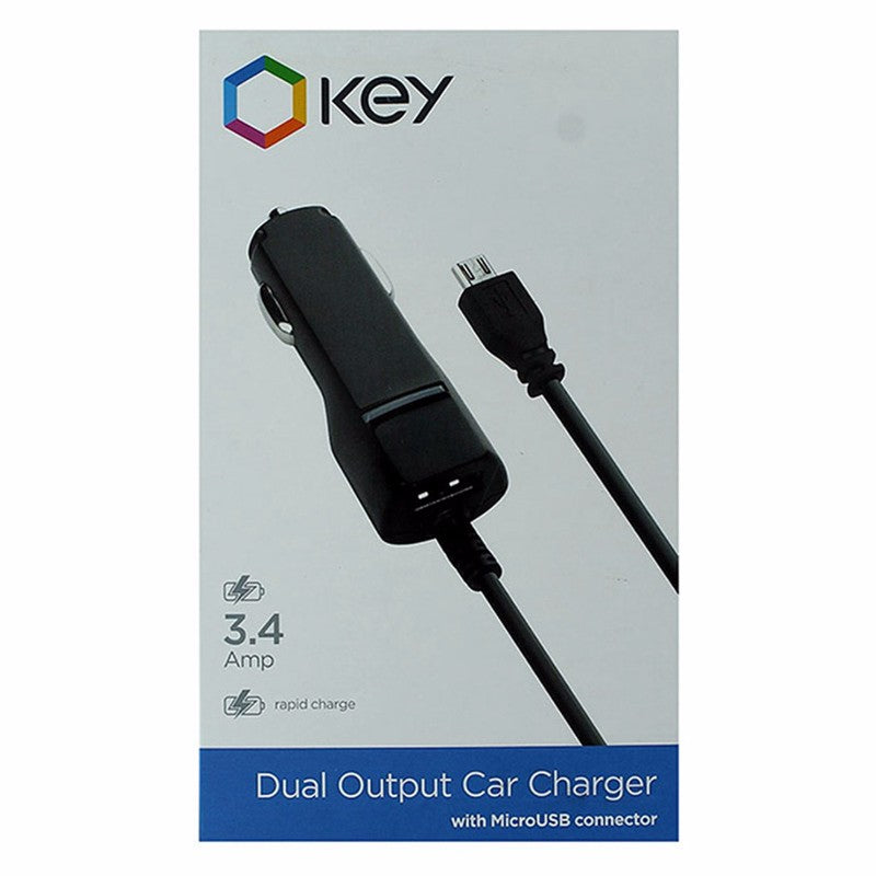 KEY 3.4A Car Charger with Micro-USB Connector and Extra USB Port - Black