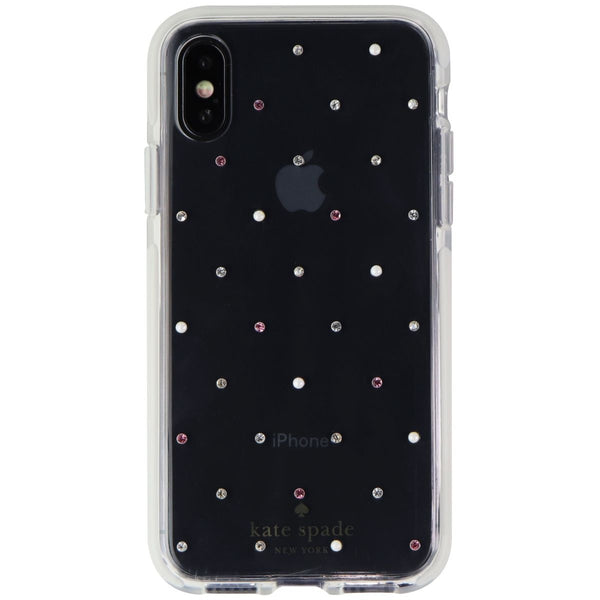 Kate Spade Defensive Hardshell Case for iPhone XS and X - Clear / Pin Dot Gems