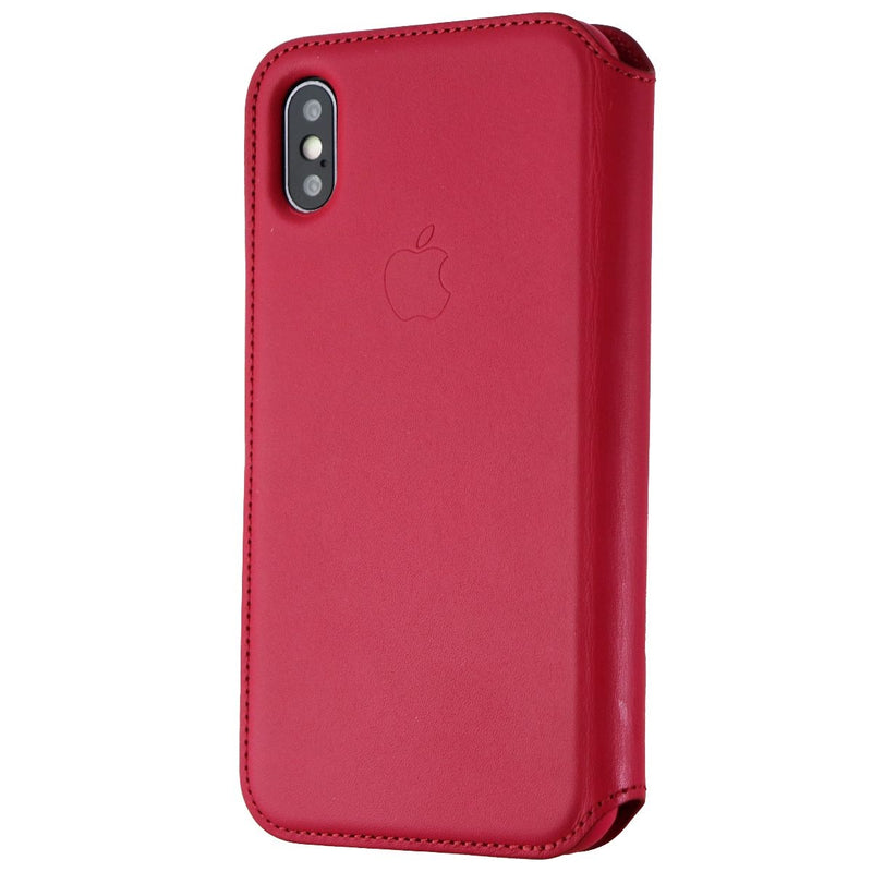 Apple Leather Folio Case For Apple iPhone X Smartphones - Berry/Red