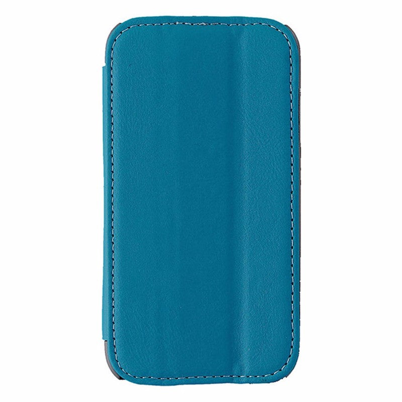 Reiko Leather Folio Flip Case for Samsung Galaxy S4 - Blue / Gray