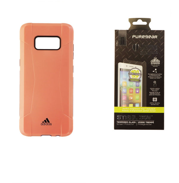 Adidas Salmon Solo Case + PureGear Glass Screen Protector for Samsung Galaxy S8